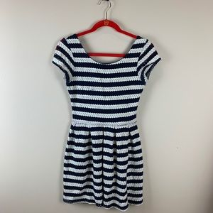 Eight Sixty Blue and White Striped Fit and Flare